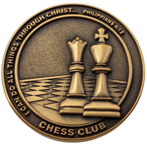 Christian School Coin for Students, Chess Club, Gift for Boy and Girl Chess Players, I Can Do All Things Through Christ, Antique Gold Plated Challenge Coin, Philippians 4:13