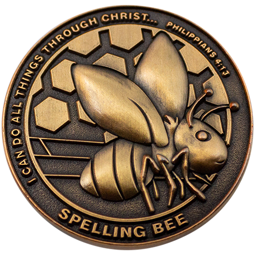 Christian School Coin for Students, Spelling Bee, Gift for Boy and Girl Spelling Bee Participants, I Can Do All Things Through Christ, Antique Gold Plated Challenge Coin, Philippians 4:13