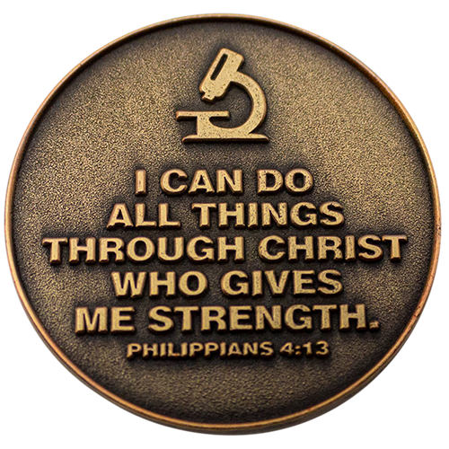"Back: Microscope, with text, ""I can do all things through Christ who gives me strength. Philippians 4:13"""