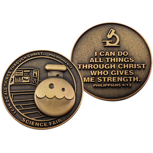 Front and back of Science Fair Christian Antique Gold Plated School Coin