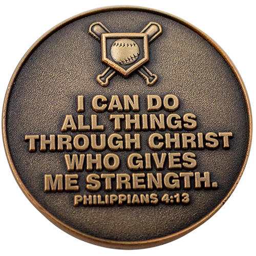"Back: Baseball bats and baseball over home plate, with text, ""I can do all things through Christ who gives me strength. Philippians 4:13"""