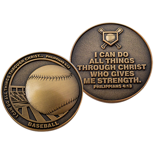 Front and back of  Baseball Team Antique Gold Plated Challenge Coin