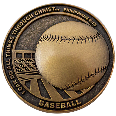 Christian Sports Coin for Young Athletes, For Boys and Girls, Gift for Baseball Players or Baseball Team, I Can Do All Things Through Christ, Antique Gold Plated Challenge Coin, Philippians 4:13
