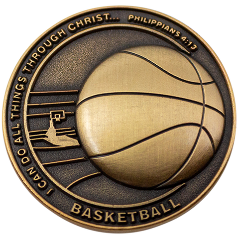 Christian Sports Coin for Young Athletes, For Boys and Girls, Gift for Basketball Players or Basketball Team, I Can Do All Things Through Christ, Antique Gold Plated Challenge Coin, Philippians 4:13