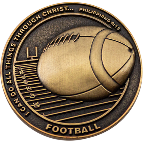Christian Sports Coin for Young Athletes, Gift for Football Players or Football Team, I Can Do All Things Through Christ Who Gives Me Strength, Antique Gold Plated Challenge Coin, Philippians 4:13