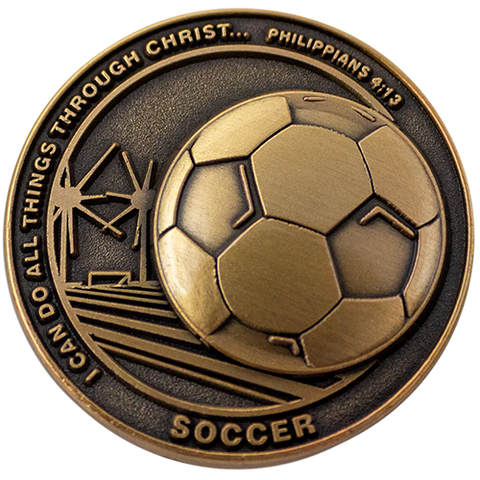 Christian Sports Coin for Young Athletes, For Boys and Girls, Gift for Soccer Players or Soccer Team, I Can Do All Things Through Christ, Antique Gold Plated Challenge Coin, Philippians 4:13