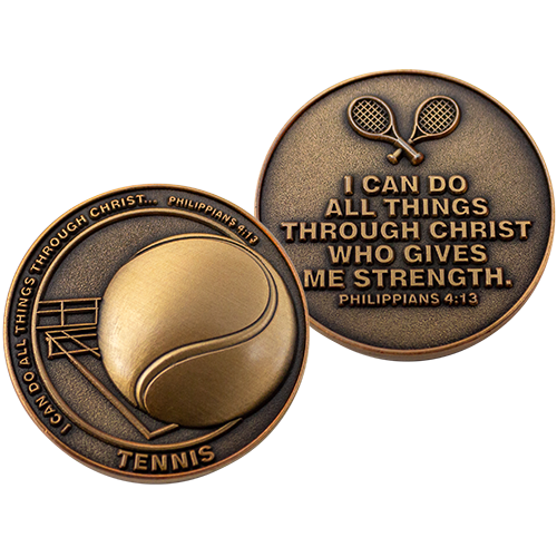 Christian Sports Coin for Young Athletes, For Boys and Girls Gift for Tennis Players or Tennis Team, I Can Do All Things Through Christ, Antique Gold Plated Challenge Coin, Philippians 4:13