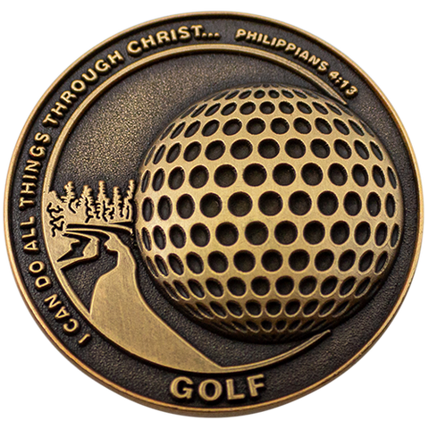Christian Sports Coin for Young Athletes, For Boys and Girls, Gift for Golf Players or Golf Team, I Can Do All Things Through Christ, Antique Gold Plated Challenge Coin, Philippians 4:13