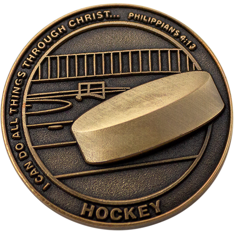 Christian Sports Coin for Young Athletes, For Boys and Girls, Gift for Hockey Players or Hockey Team, I Can Do All Things Through Christ, Antique Gold Plated Challenge Coin, Philippians 4:13