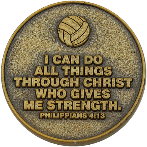 back of Christian volleyball challenge coin