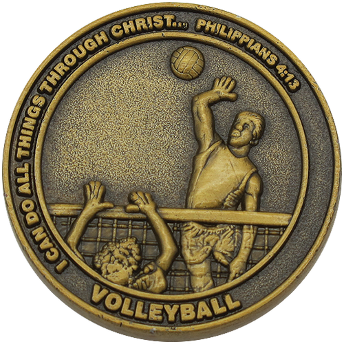 front of Christian volleyball challenge coin