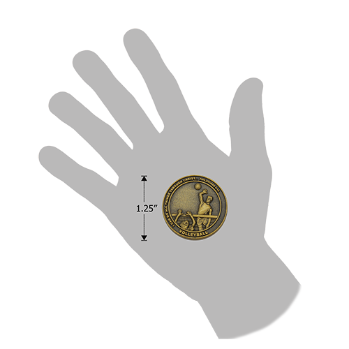 size of Christian volleyball challenge coin relative to a human hand