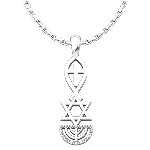 Messianic, Jesus Fish, Star of David, & Menorah, Sterling Silver Pendant Necklace for Men and Women