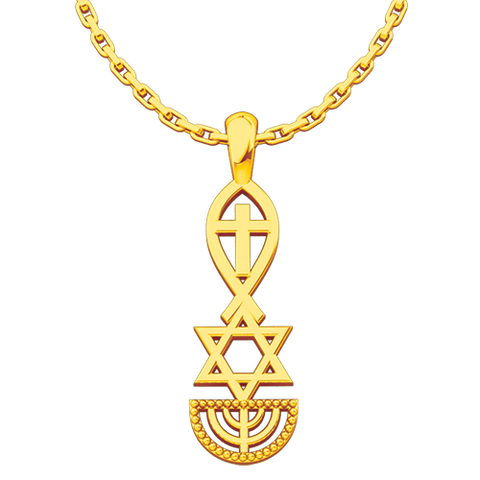 Messianic, Jesus Fish, Star of David, & Menorah, Gold Plated Sterling Silver Pendant Necklace for Men and Women