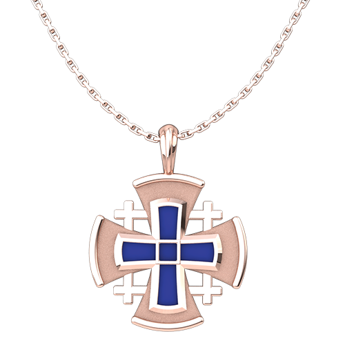 "Rose Gold Plated Jerusalem Cross with Blue Enamel Pendant with 18"" Sterling Silver Chain"