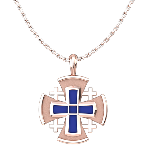 "Jerusalem Cross with Blue Enamel Pendant, Rose Gold Plated, Sterling Silver, with 18"" Sterling Silver Chain"