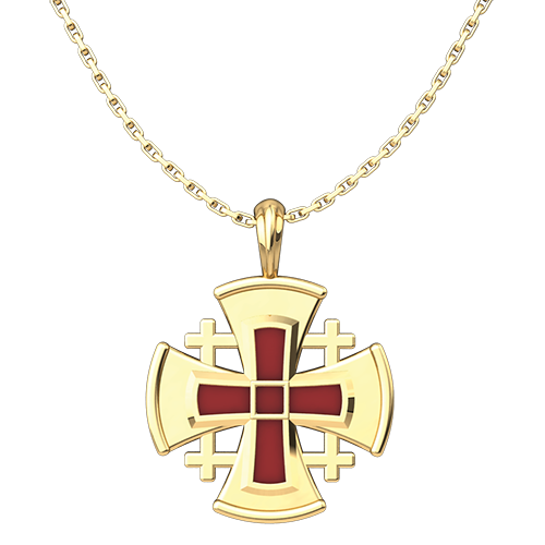 "Jerusalem Cross with Red Enamel Pendant, Gold Plated Sterling Silver, with 18"" Sterling Silver Chain"