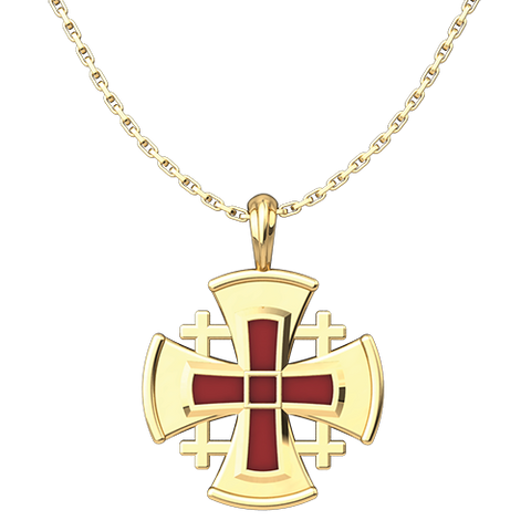 "Gold Plated Sterling Silver Jerusalem Cross with Red Enamel Pendant with 18"" Sterling Silver Chain"