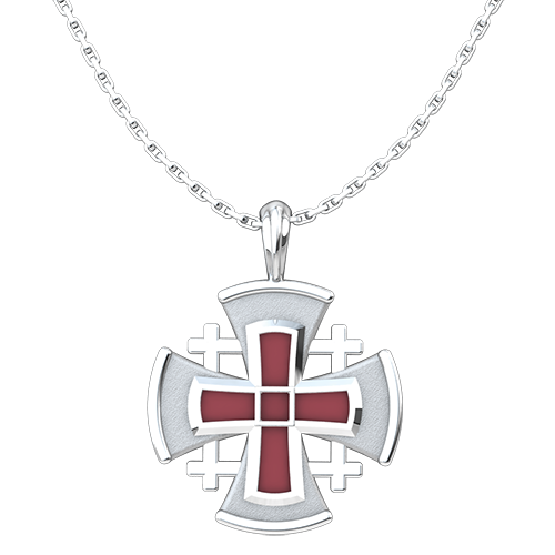 "Jerusalem Cross with Red Enamel Pendant, Sterling Silver, with 18"" Sterling Silver Chain"