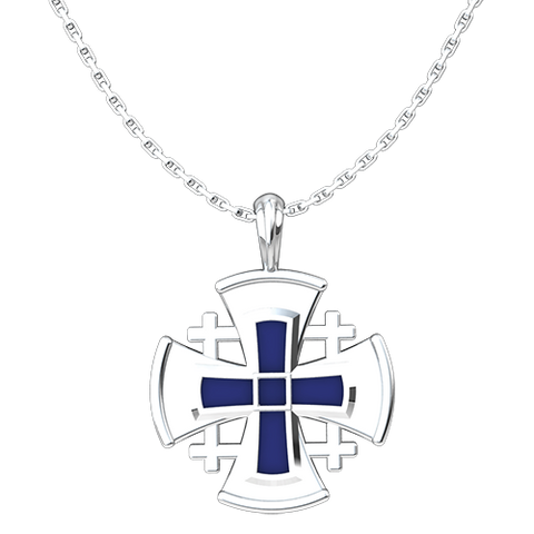 "Jerusalem Cross with Blue Enamel Pendant, Sterling Silver, with 18"" Sterling Silver Chain"