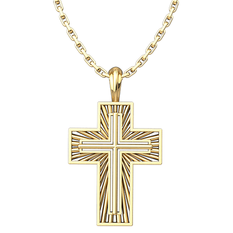 "Shining Radiant Cross Pendant, Gold Plated Sterling Silver, with 18"" Gold Plated Sterling Silver Chain"