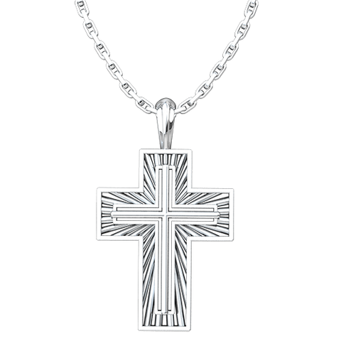 "Shining Radiant Cross Pendant, Sterling Silver, with 18"" Sterling Silver Chain"