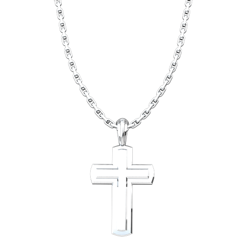 "Solid Inset Cross Pendant, Sterling Silver, with 18"" Sterling Silver Chain"
