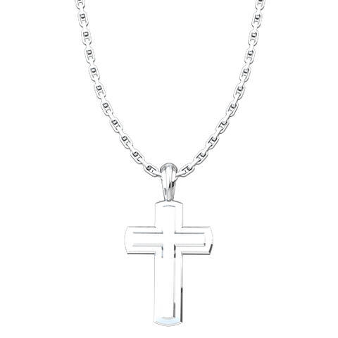Sterling Silver Solid Inset Cross Pendant