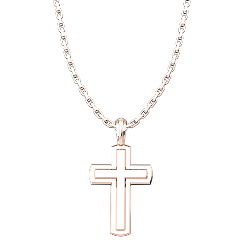 "Solid Inset Cross Pendant, Rose Gold Plated, Sterling Silver, with 18"" Sterling Silver Chain"