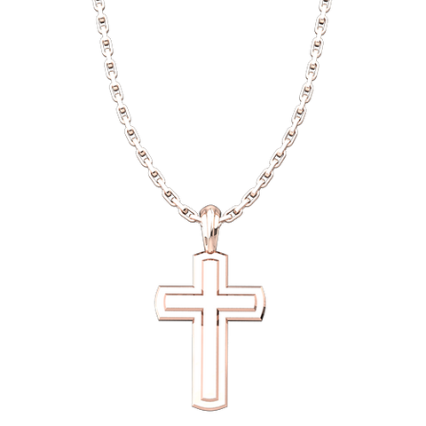 "Rose Gold Plated Inset Cross Pendant with 18"" Sterling Silver Chain"