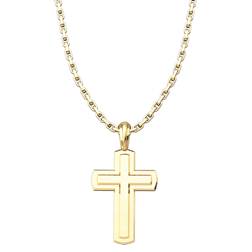 Gold Plated Solid Inset Cross Pendant