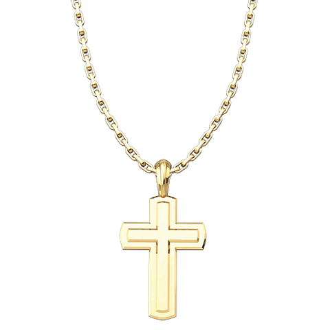 "Solid Inset Cross Pendant, Gold Plated, Sterling Silver, with 18"" Sterling Silver Chain"