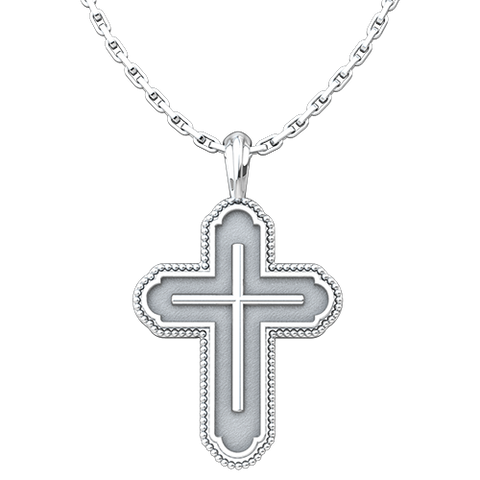"Cross in Cross Bead Edges Antiqued Pendant, Sterling Silver, with 18"" Sterling Silver Chain"