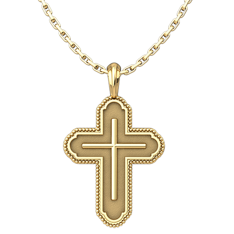"Cross in Cross Bead Edges Pendant, Gold Plated Sterling Silver, with 18"" Sterling Silver Chain"