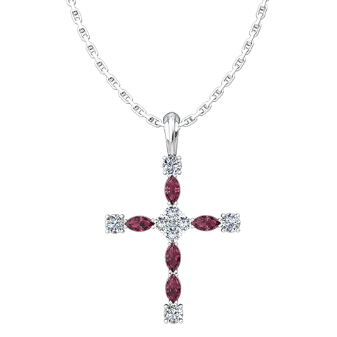 "January, Garnet - Antique Birthstone Cross Pendant - With 18"" Sterling Silver Chain"