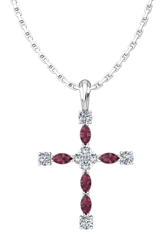 Antique Birthstone Cross Pendant