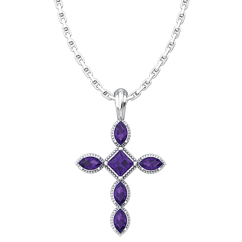 "February, Amethyst - Antique Birthstone Cross Pendant - With 18"" Sterling Silver Chain"