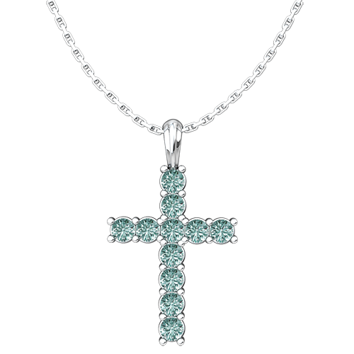 "March Aquamarine Antique Birthstone Cross Sterling Silver Pendant - With 18"" Sterling Silver Chain"