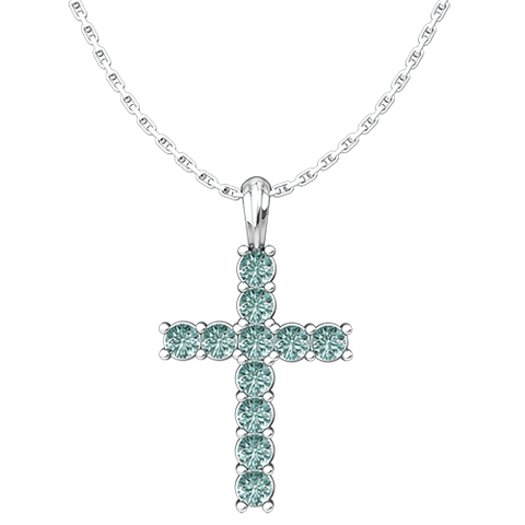 "March, Aquamarine - Antique Birthstone Cross Pendant - With 18"" Sterling Silver Chain"