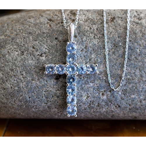 "March Aquamarine Antique Birthstone Cross Sterling Silver Pendant - With 18"" Sterling Silver Chain on a stone"
