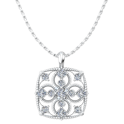 "April Cubic Zirconia Antique Birthstone Cross Pendant - with 18"" Sterling Silver Chain"