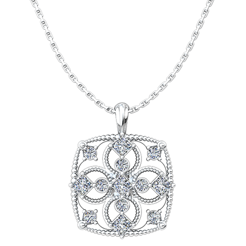 "April, Cubic Zirconia- Antique Birthstone Cross Pendant - with 18"" Sterling Silver Chain"