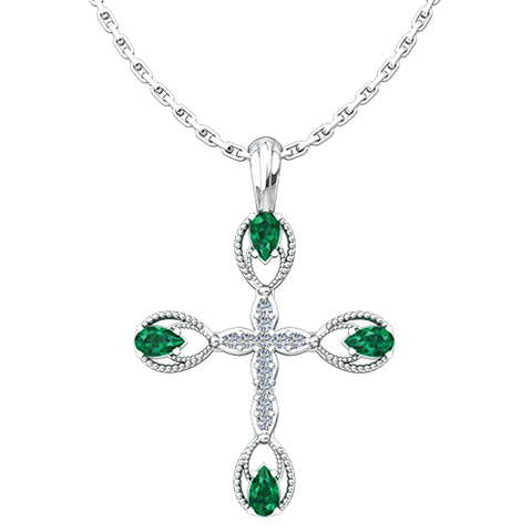 This stunning Antique Emerald May Birthstone Cross Pendant merges the old with the new in a modern take on antique styling.