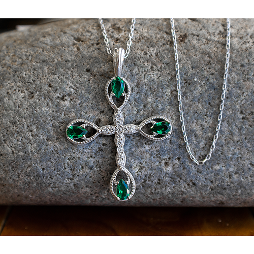 "May, Emerald- Antique Birthstone Cross Pendant - With 18"" Sterling Silver Chain"
