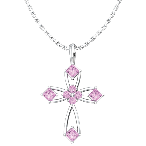"June, Alexandrite - Antique Birthstone Cross Pendant - With 18"" Sterling Silver Chain"