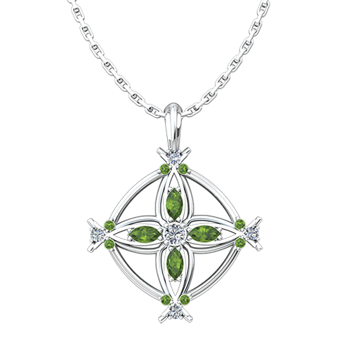 "August, Peridot - Antique Birthstone Cross Pendant - With 18"" Sterling Silver Chain"