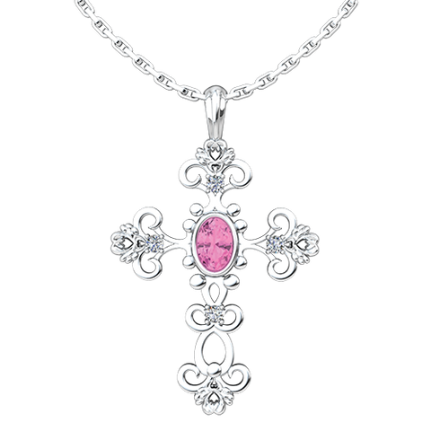 "October, Pink Tourmaline- Antique Birthstone Cross Pendant - With 18"" Sterling Silver Chain"