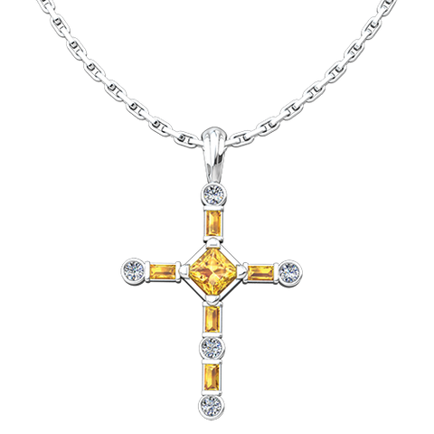 "November Citrine Antique Birthstone Cross Pendant - With 18"" Sterling Silver Chain"