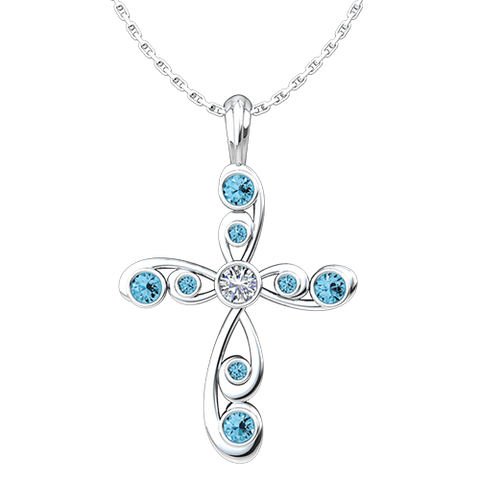 "December, Blue Topaz - Antique Birthstone Cross Pendant - With 18"" Sterling Silver Chain"
