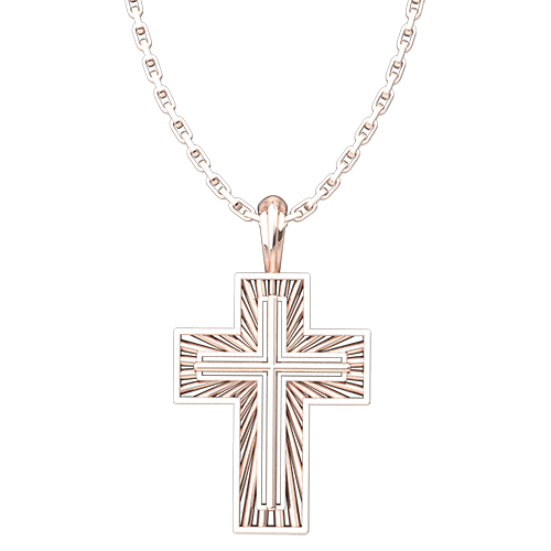 "Rose Gold Plated Sterling Silver Shining Radiant Cross Pendant with 18"" Chain"